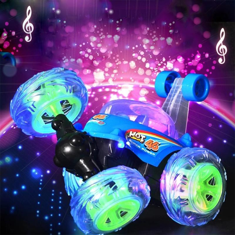 Stunt Car with Light Music Remote Control Electric Toy Dancing Dump Car Dumper Rolling Rotating Wheel Vehicle Truck Educational