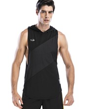 Red Plume Hooded Vest for Men Fitness Breathable Men's Sleeveless Shirt Vest Male Tank Tops