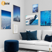 Blue Sea Shark Whale Tree Cloud Wall Art Canvas Painting Nordic Posters And Prints Pictures For Living Room Home Decor