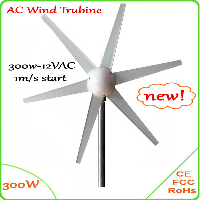 300W 6 blades wind turbine generator 12V 24V AC output 1m/s small wind-speed start wind generator / windmill CE Approved