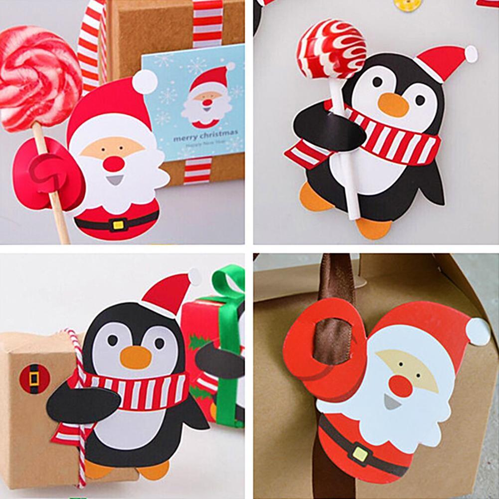 6/8Pcs Cute Christmas Cards Santa Penguin Christmas Candy Lollipop ...