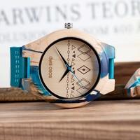 Reloj de madera y resina pulso cuero 4
