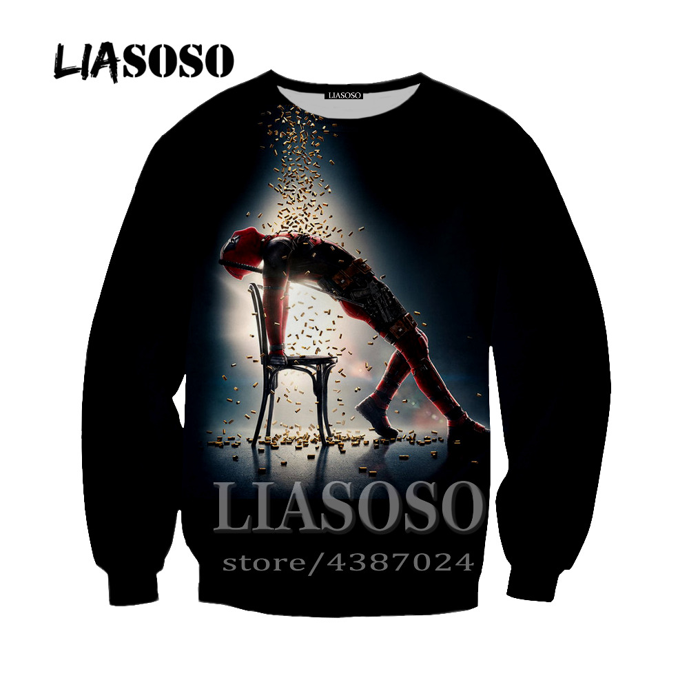 LIASOSO Newest Men Women Sweatshirt Outerwear Anime Deadpool Hoodie Homme Hipster 3D Print Deadpool Crewneck Pullover Y249