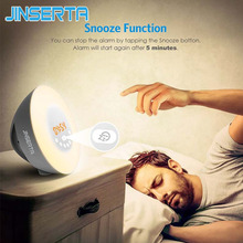 JINSERTA Newest LED Digital Radio With Colorful Backlight Alarm clock FM Radio Electronic Home Table Clock radio