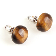 FYJS Unique Silver Plated Half Ball Stud Earrings with Natural Tiger Eye Stone Popular Jewelry цена и фото