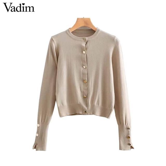 Vadim phụ nữ rắn dệt kim chiếc áo len đơn ngực dài tay áo stretchy áo len ngắn phong cách nữ giản dị cơ bản tops HA381