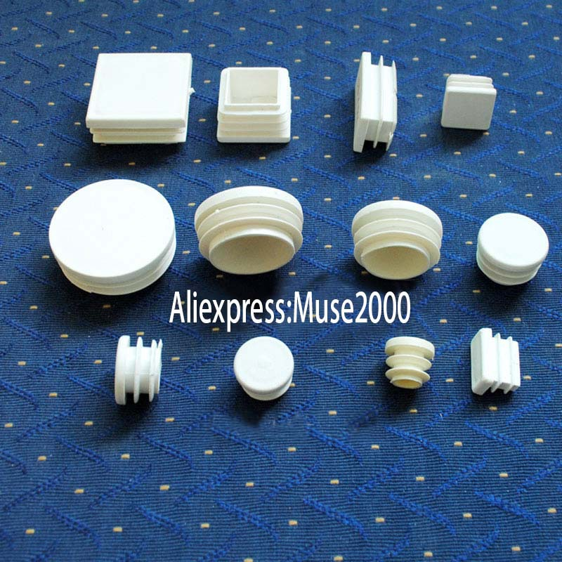 Square 15 16 19 20,25,30,32 38 40,50 60mm White Tube Inserts End Blanking Cap,furniture Chair Desk Feet Pad Folding Bed Leg Furniture