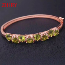 ZHHIRY Natural Peridot Gem Stone  Real 925 Sterling Silver Women Bangles Jewelry Bracelet Free Shipping