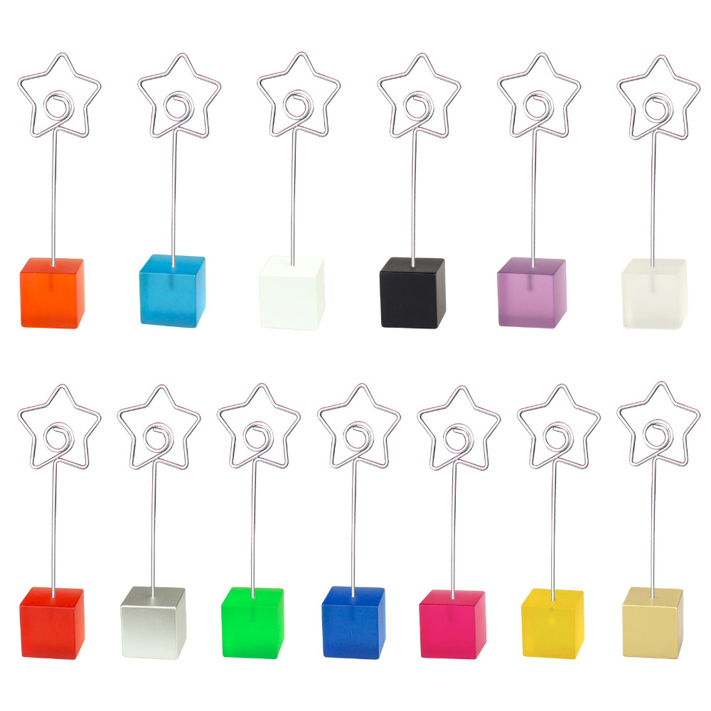 Lot 10pcs Cube Base Star Wire Photo Clip,Memo Clamp,Table Place Card Holder,Wedding Favor Party Deco,Personalized Give Away