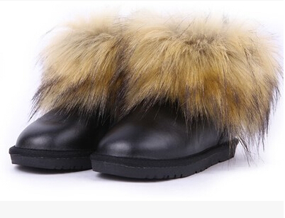 2016 Children s winter boots for girls fox fur snow boots boy winter shoes leather waterproof