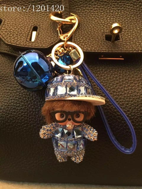 handmade Cute Crystal MONCHHICHI glassesHat  Bag Charm Bag Bugs Tote Charm Bling Fashion Car Key Chain Gift bell leather lanyard
