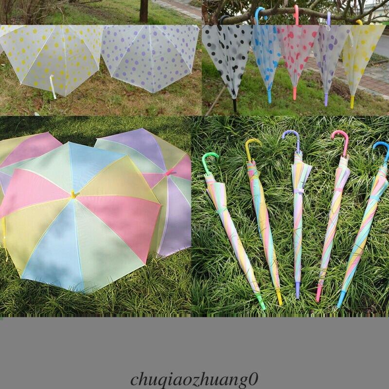 Newest Umbrella Rainbow Anti-UV Parasols Transparent Clear Rain Brolly  Dot / (Random color)