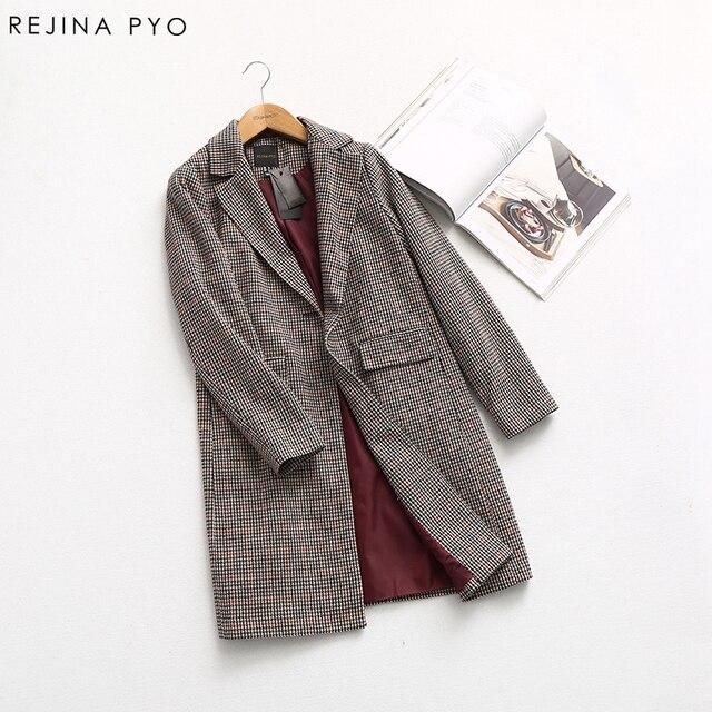 1ebc8047f1e08 REJINAPYO Women Swallow Gird Plaid Vintage Style Elegant Single Button  Notched Collar Trench Coat 2019 Spring New Arrvial