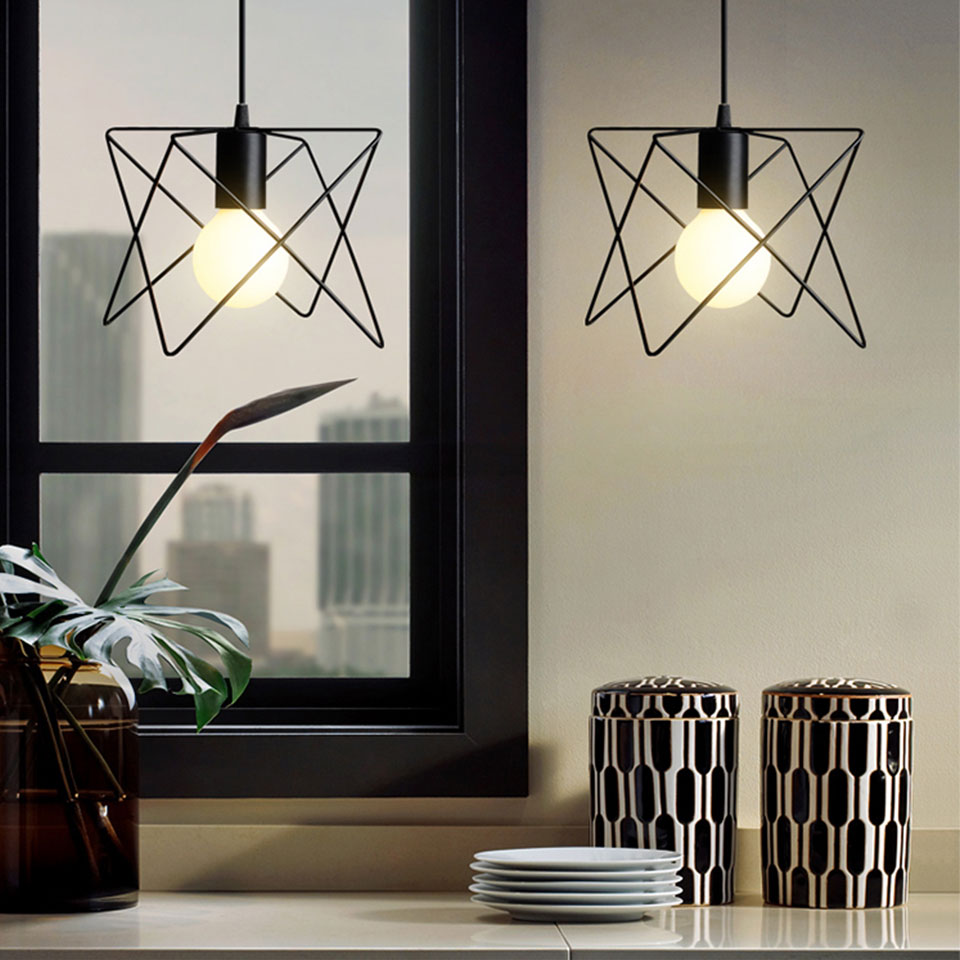 2PACK Retro Iron Cage Lampshade Indoor Lighting Vintage Pendant Light Fixture for Home Decor, Black Hanging Lamp vintage iron pendant light industrial lamps e27 cage pendant lamp hanging lights fixture with glass guard indoor lighting