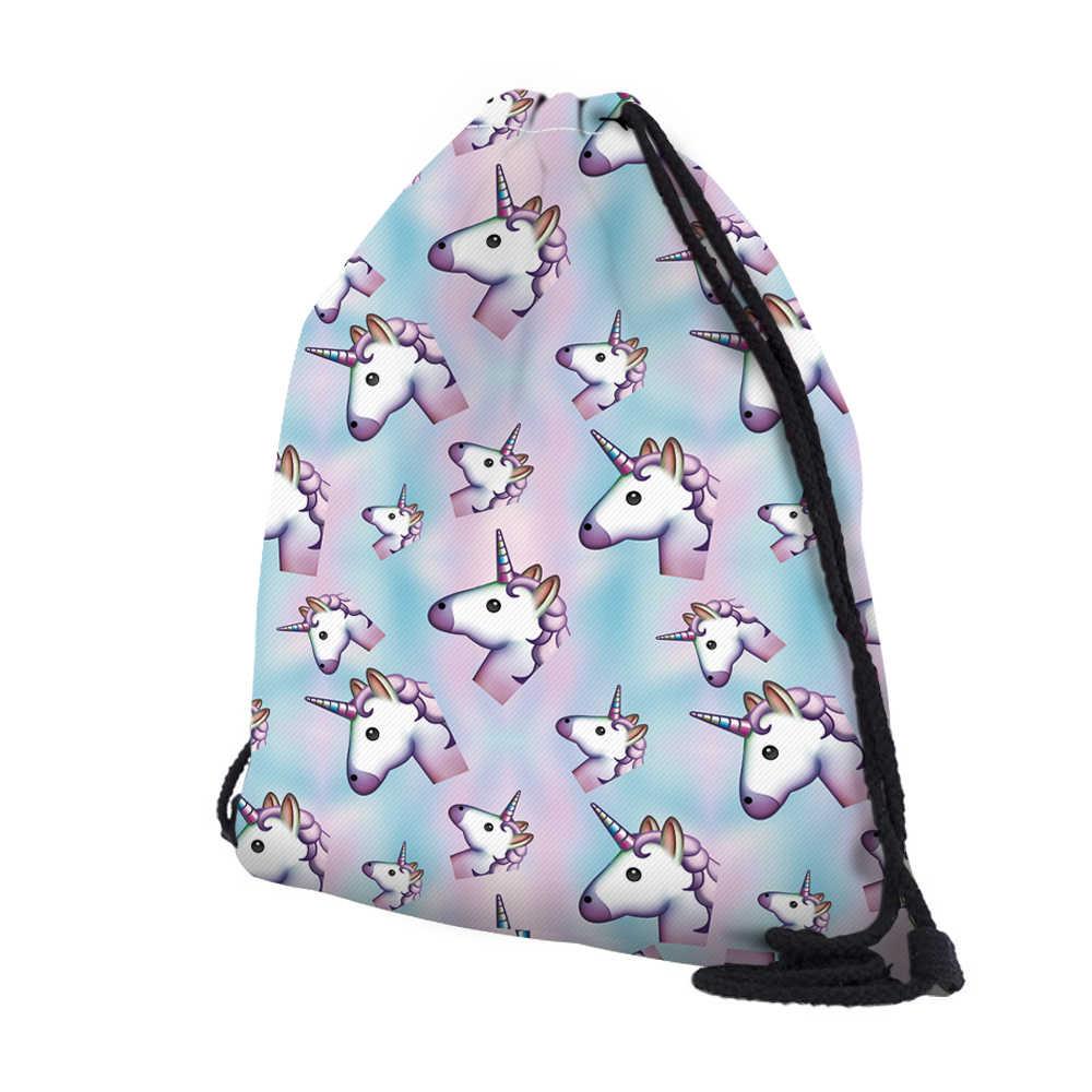 DAOXI 3D печать единорог Туристическая сумка со шнурками рюкзак женский мочила школьные рюкзаки для девочек DX60064