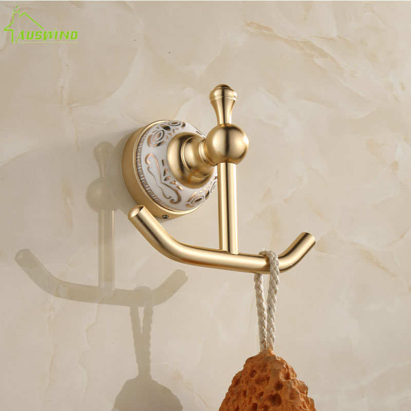 Classic brass gold brushed bathroom robe hooks aluminum - Wall mounted ceramic bathroom accessories ...