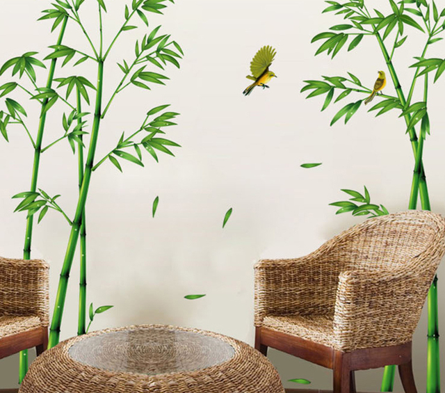 Green Bamboo Bird Large Wall Decal Home Decor Living Room Diy Art Mural  Removable Wall Stickers