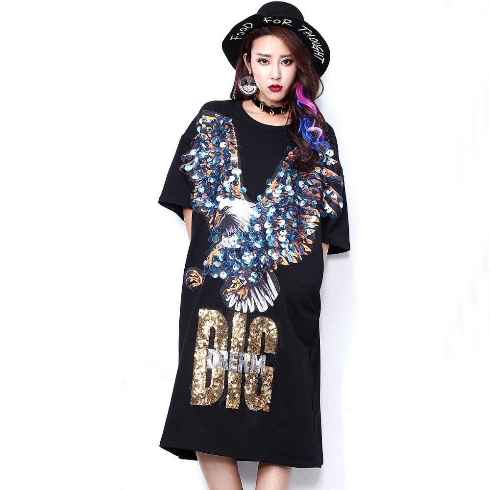 2017 Summer New Arrival Women Punk Street Style Short Sleeve Eagle Sequined Long Dress Specific Fashion Woman Vestdios