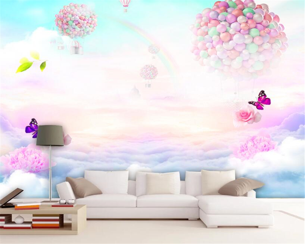 Us 8 85 41 Off Beibehang Child Room Background Wall Decoration Large Mural 3d Wallpaper Dream Rose Butterfly Rainbow Sky Photo Mural Wallpaper In