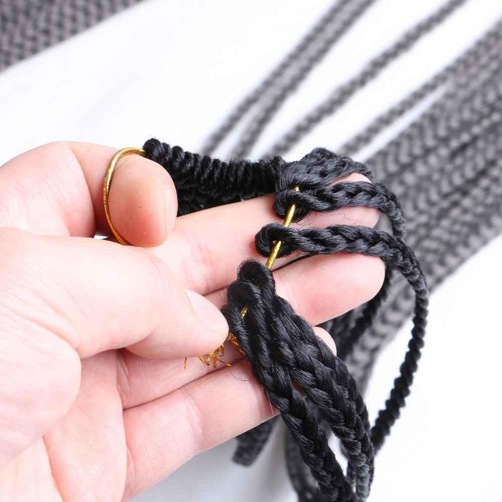"""Роскошный для плетения Омбре плетение Парик Косы Наращивание волос 24 """"22 корни/упаковка высокотемпературное волокно синтетические волосы серый фиолетовый"""