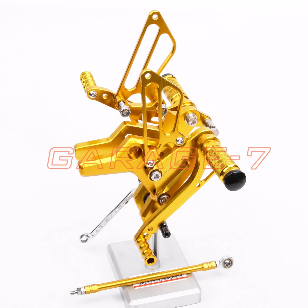 Hot Sale High Quality Motorcycle Accessory CNC Rearsets Foot Pegs Rear Set Golden Color For Kawasaki Z750 2004-2006 2005