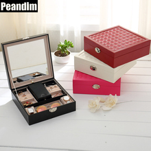 PEANDIM Multifunction Cosmetics&Jewelry Box Movable Big Mirror Storage Box PU Large Capacity Organizer Makeup Case For Travel