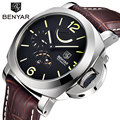 BENYAR Brand Energy Display Mechanical Watches Men Genuine Leather Automatic Military Watch Men Wristwatches Relogio Masculino