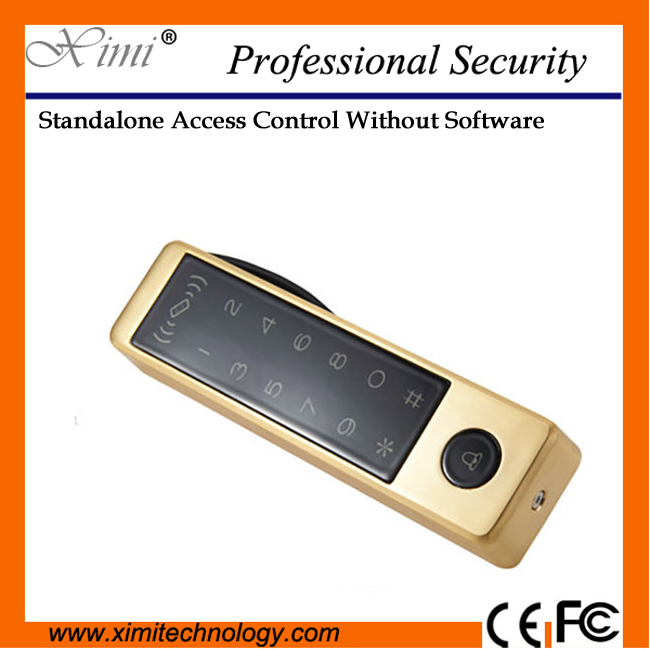 Smart proximity 13.56mhz card reader with touch keypad standalone excellent design M12-C single access control smart door lock metal rfid em card reader ip68 waterproof metal standalone door lock access control system with keypad 2000 card users capacity