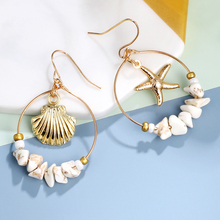 Sea Shell Earrings For Women Gold Color Trendy Metal Shell Cowrie Statement Dangle Earrings 2020 New Summer Beach Jewelry 2019 boho cowrie shell earrings for women earring hanging statement drop dangle earrings sea shell summer beach jewelry bohemian