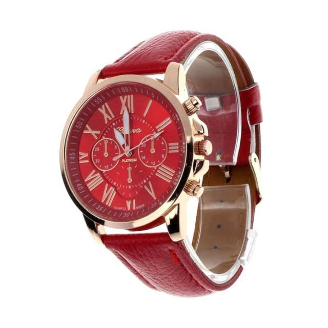 Timezone #501 Geneva Brand Watches Women Casual Roman Numeral Watch For Women PU