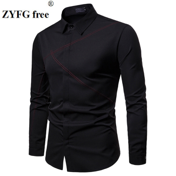 ZYFG Free men shirt chest embroidery long sleeve turn-down collar shirts elegant gentleman simple tops fashion manwear