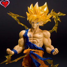 Love Thank You Dragon Ball Z Goku Super SaiYan Zero Battle PVC Figure 17cm Anime Hobbies Collectibles Model toy doll gift NEW