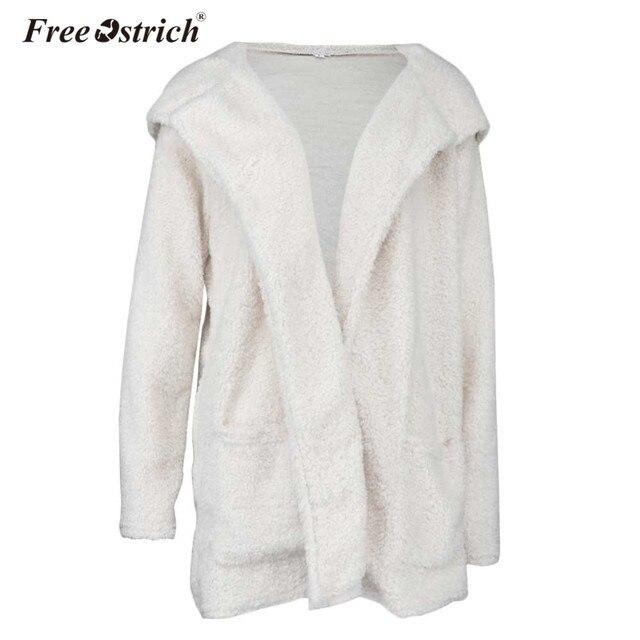 bcbcec6a94 Free Ostrich Jacket Women Faux Fur Plush Hooded Long Coat Autumn Winter  Warm Zipper Overcoat Chaquetas Mujer