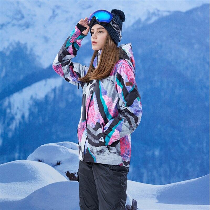 Gsou Neve di Marca Donne Giacca Da Sci Antivento Impermeabile Giacca Da Snowboard Caldo Outdoor Sport Giacca Giù Il Vestito di Grandi Dimensioni - 3