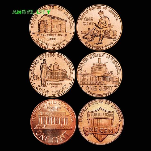 6 cái/bộ Hoa Kỳ Tất Cả Các Khác Nhau 1 Cent 100% thực tế và Đồng Xu Gốc cho Bộ Sưu Tập A0272
