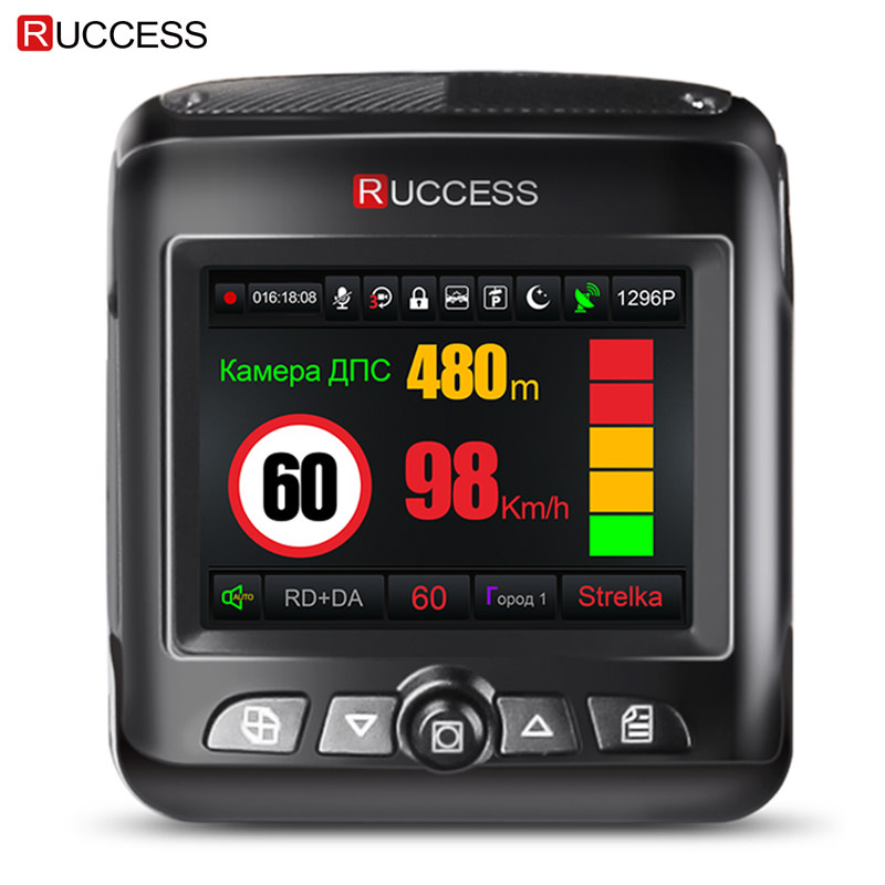 Ruccess Car DVR Radar Detector GPS 3 in 1 Full HD 1296P 1080P Video Recorder Camera Dual Lens Dash Cam Speedcam Russian ...