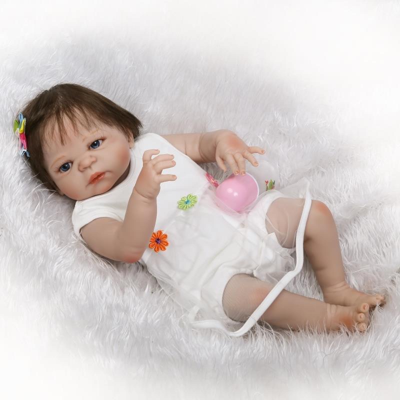 22 Inch 57cm Handmade Lifelike Newborn Full Body Silicone Vinyl Reborn Newborn Baby Dolls A008