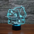 Lámpara de mesa juguetes figuras 2016 Nueva Pokemon Bulbasaur Pokemon Ir 3D LED 7 que cambia de color ambiente de fiesta de cumpleaños decoración de juguete