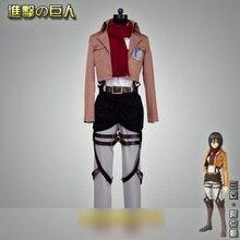 Attack on Titan Mikasa Ackerman Full set Battle Uniform Cosplay Costume Halloween Costume for Women Men Free shipping
