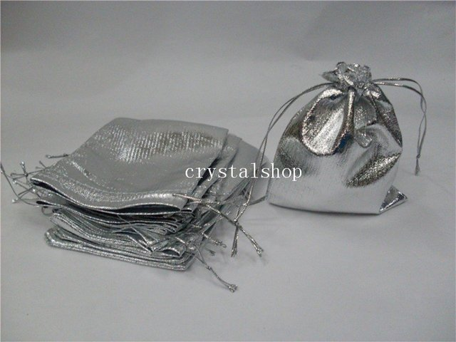 Wholesale Free Shipping   400 Silver Satin Jewelry Display Pouch  Gift Bag