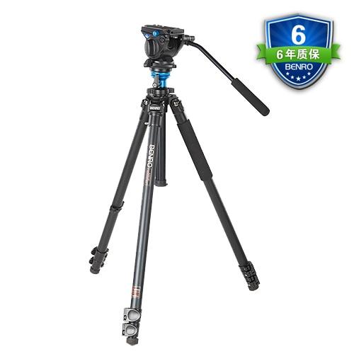 Benro A2573FS4 Video Tripod Professional Auminium Camera Tripods S4 Video Head QR6 Plate BS03 Pan Bar Handle Carrying Bag