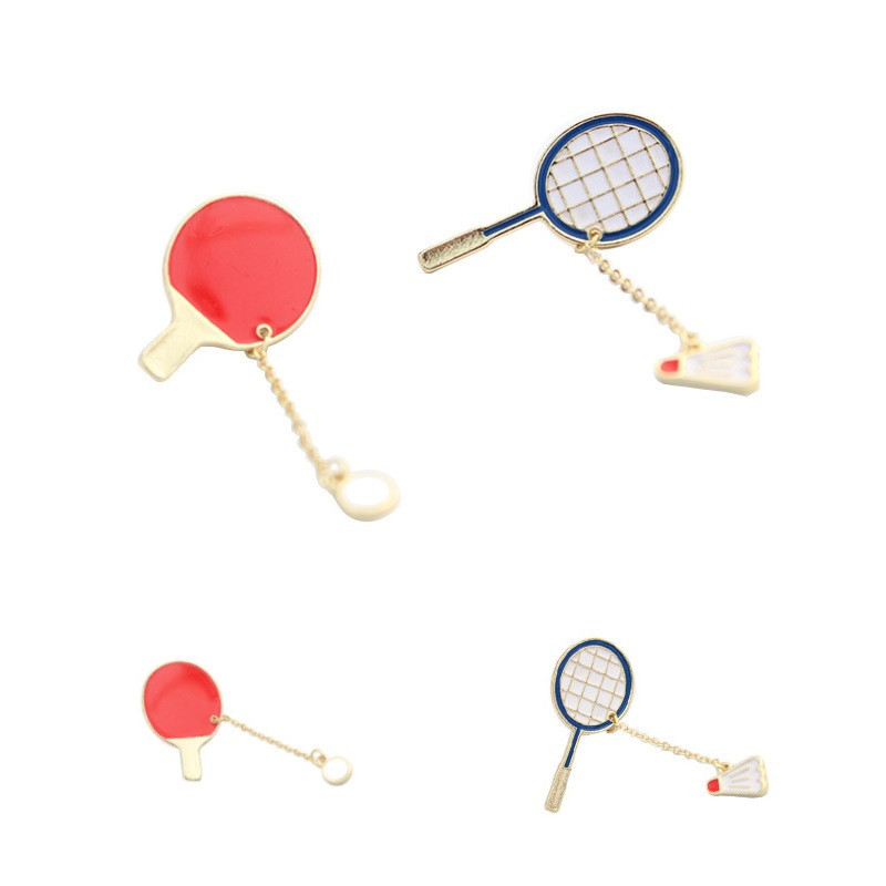 SHUANGR Table Tennis Badminton Metal Brooches Pins Button Pin Fashion South Koreas Brooch Popular Sports Cartoon Jewelry