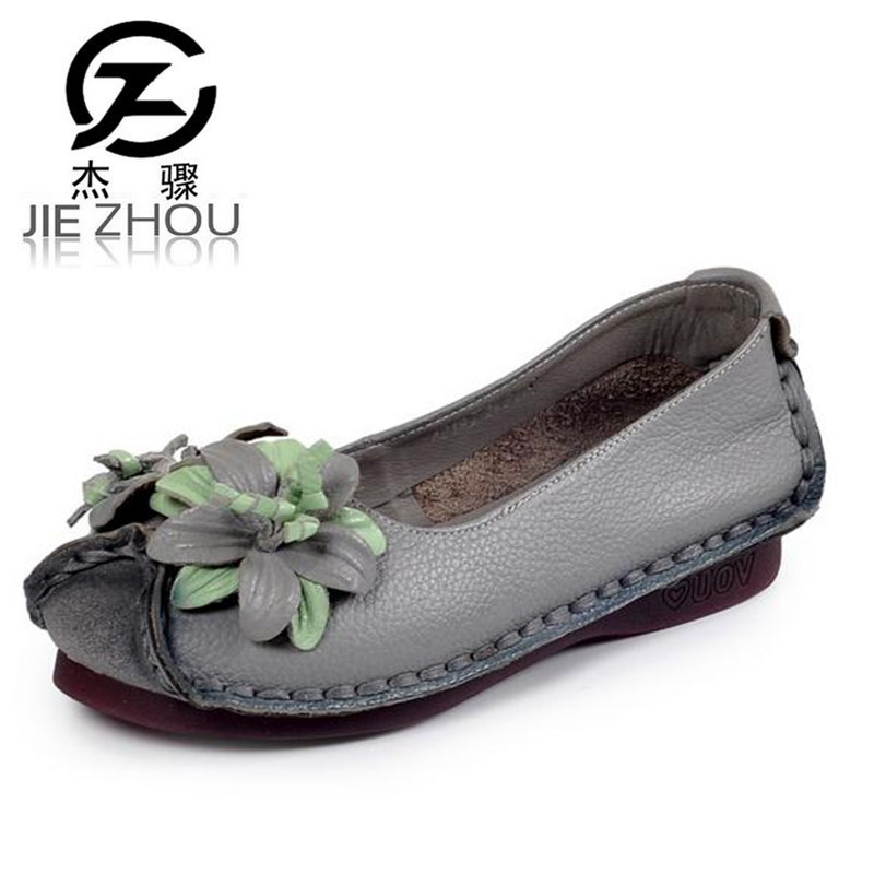 Retro soft bottom hand-sewn Women shoes non-slip Flowers flat with casual shoes Genuine Leather Ballet Flats Female zapatos new national wind flowers handmade genuine leather shoes women retro soft bottom flat shoes summer canvas ballet flats k62