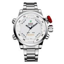 Caliente Reloj de Los Hombres LED Dual Análogo de Cuarzo Reloj de Pulsera Banda de Acero 88