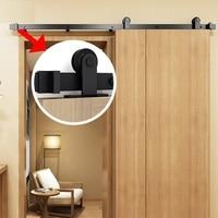 Heavy Duty Sturdy Sliding Barn Door Hanging Rails I Shape Black Steel Closet Kit Top Mounted Hanger Sliding Door Hardware