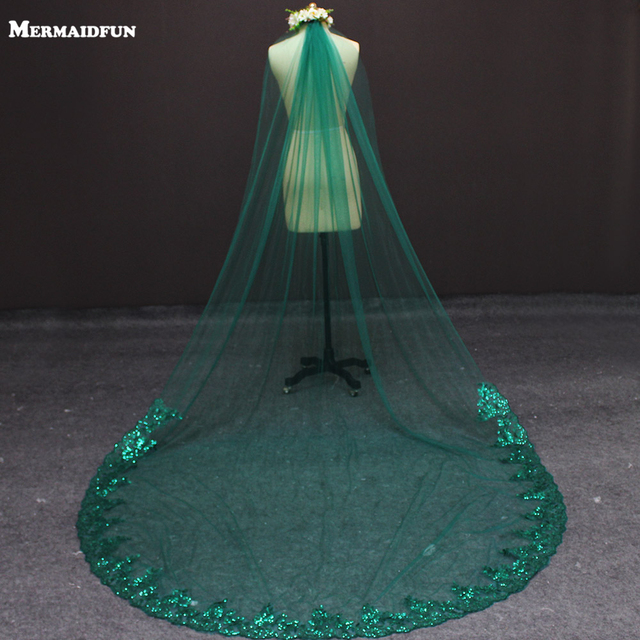 2019 New 3 Meters One Layer Lace at Bottom Green Tulle Wedding Veil 3 M Long Bridal Veils