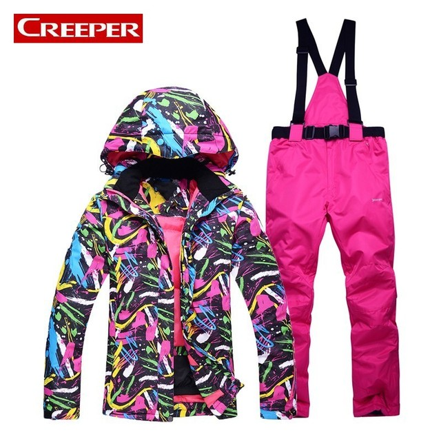 d6b8e652f1e Korean Top Brand Warm Womens Skiing Down Jackets Waterproof Snowboarding  Suits Jackets+ Pants Hooded Comouflage Snow Costumes