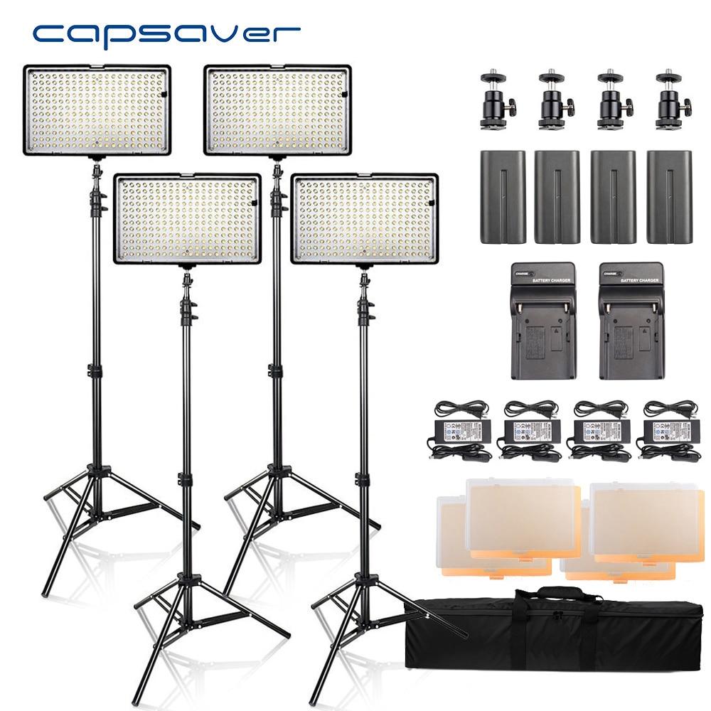 capsaver LED Video Light Photography Lighting 4 in 1 Kit led Panel with Tripod 3200K 5600K
