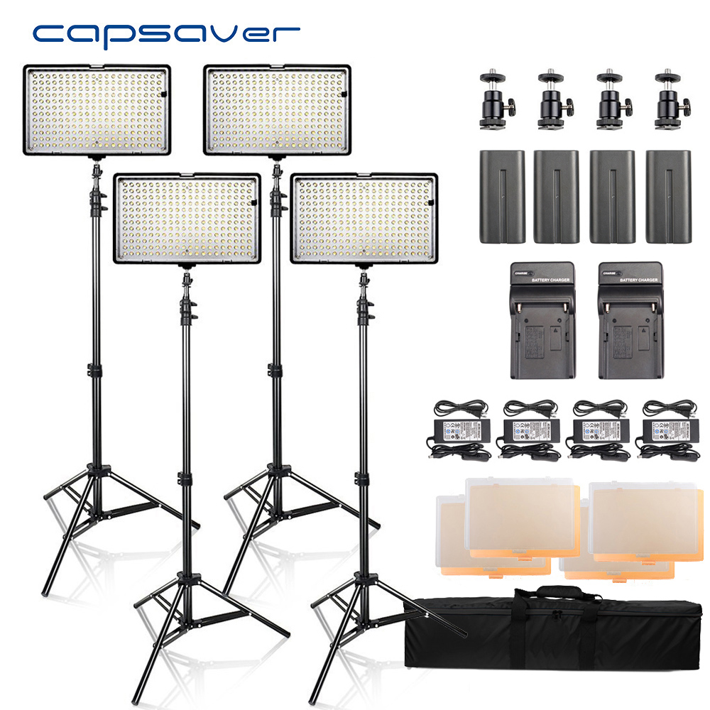 capsaver LED Video Light Photography Lighting 4 in 1 Kit led Panel with Tripod 3200K/5600K CRI93 240 LEDs Photo Studio Lamp gvm 520s b led video light with battery cri97 3200k 5600k for video making photography lighting and location shooting panel