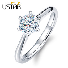 USTAR Classic Six Claw 1 Carat 6mm Zircon Wedding Rings for women Jewelry silver color Engagement rings female Anel Bijoux Gift